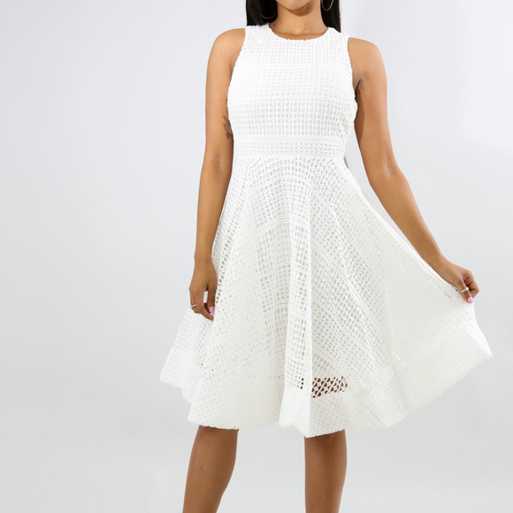 bd487132609 White Pea Net Fit N Flare Midi Dress